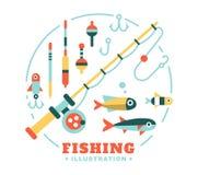Комплект иллюстраций на рыбной ловле темы Стоковое Изображение
