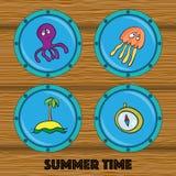 Комплект иллюстраций осьминога, медузы, острова, компаса в r Иллюстрация вектора