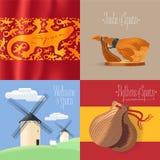 Комплект иллюстраций с испанскими символами - мельниц, jamon, etc вектора бесплатная иллюстрация