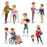 Комплект иллюстраций шаржа людей с инвалидностью изолированных на белизне бесплатная иллюстрация