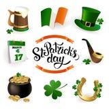 Комплект иллюстраций для праздновать день ` s St. Patrick Иллюстрация штока