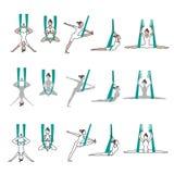 Комплект йоги значков с представлениями гамака Стоковая Фотография