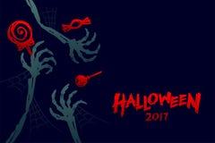 Комплект 2017, каркасная рука шаблона предпосылки хеллоуина изверга Стоковое фото RF