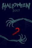 Комплект 2017, каркасная рука шаблона предпосылки хеллоуина изверга Стоковые Изображения RF