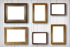 Комплект картинной рамки Художественная галерея фото на деревянном годе сбора винограда Стоковое Изображение
