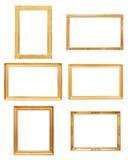 Комплект картинных рамок прямоугольника золотых Стоковое фото RF