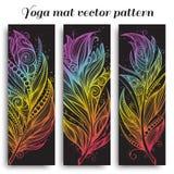 Комплект картины вектора циновки йоги Стоковая Фотография