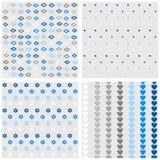 Комплект картины голубого серого цвета цветков и сердец точек диамантов Стоковые Фото