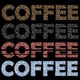 Комплект картины кофейных чашек Декоративный текст дизайна Стоковые Фотографии RF