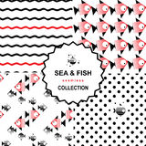 Комплект картины моря и рыб Стоковое Фото