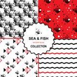Комплект картины моря и рыб Бесплатная Иллюстрация