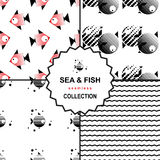 Комплект картины моря и рыб Иллюстрация штока