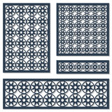 Комплект картины орнамента карточек геометрической Декоративный элемент для вырезывания лазера текстурированный картиной традицио Стоковое фото RF
