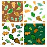 Комплект картины осеней doodle безшовной с жолудем и листьями Стоковое фото RF