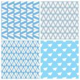 Комплект картины самолетов бумаги безшовный 4 повторяя абстрактных предпосылки с бумагой строгают символ Стоковые Изображения RF