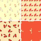 Комплект картины 4 цветов геометрической безшовной с цветками поднял Бесплатная Иллюстрация