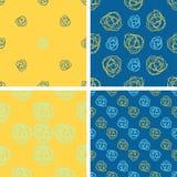 Комплект картины 4 цветов геометрической безшовной с цветком doodle иллюстрация вектора
