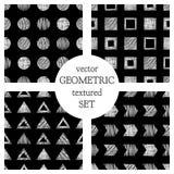 Комплект картин безшовного вектора геометрических с треугольниками, круг, квадраты Черно-белая пастельная бесконечная предпосылка иллюстрация вектора