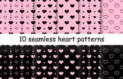 Комплект картин вектора формы сердца безшовных Стоковое Изображение