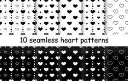 Комплект картин вектора формы сердца безшовных Стоковые Изображения