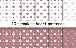 Комплект картин вектора формы сердца безшовных Стоковое Фото