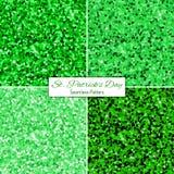 Комплект картин зеленого яркого блеска безшовных Стоковое Фото