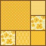 Комплект 6 картин золота безшовных Иллюстрация вектора