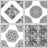 Комплект картин мандалы безшовных Черно-белый круглый орнамент Стоковое фото RF