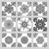 Комплект картин мандалы безшовных Черно-белый круглый орнамент Стоковая Фотография