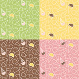Комплект 4 картин мороженого лета на различных предпосылках Стоковые Изображения RF