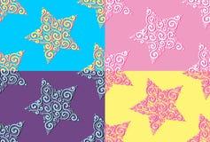 Комплект картин нарисованных рукой безшовных с звездами Стоковые Фотографии RF