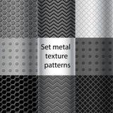 Комплект картин текстуры металла безшовных Стоковое Изображение