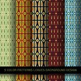 Комплект 5 картин цветов с листьями и абстрактной декоративной Стоковые Изображения