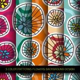 Комплект 5 картин цветов с цветками и абстрактным декоративным el Стоковое Изображение