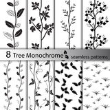 Комплект картин черно-белого дерева безшовных Стоковое Изображение