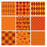 Комплект картин шотландки хеллоуина безшовных в апельсине Стоковые Фотографии RF