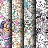 Комплект картин tracery красочных безшовных Изогнутые doodling предпосылки для ткани или печатать с mehndi и этническими поводами Стоковые Фото
