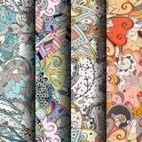 Комплект картин tracery красочных безшовных Изогнутые doodling предпосылки для ткани или печатать с mehndi и этническими поводами Стоковая Фотография RF