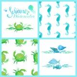 Комплект картин watercolour морских безшовных, украшений страницы и рассекателей Стоковое фото RF