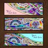 Комплект карточек абстрактного doodle племенных Стоковые Фото