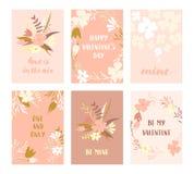 Комплект карточек валентинки Стоковое Изображение