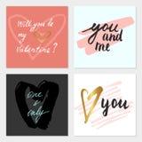 Комплект карточек валентинки Стоковые Фото