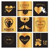 Комплект карточек влюбленности на день валентинки Стоковое фото RF