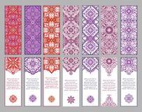 Комплект карточек или знамен с восточными симметричными орнаментами Стоковое Фото