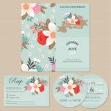 Комплект карточек или объявлений приглашения свадьбы с цветками иллюстрация вектора