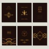 Комплект карточек и рамок стиля Арт Деко Стоковые Изображения RF