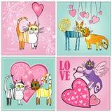 Комплект карточек дня валентинок Стоковое Изображение