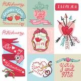 Комплект карточек дня валентинок Стоковое Фото
