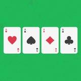 Комплект карточек покера туза иллюстрация штока