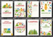 Комплект карточек похода Пеший шаблон flyear, кассеты, плакаты, обложка книги, знамена Tourl Trave infographic иллюстрация штока